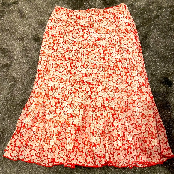 Christopher and Banks red floral skirt